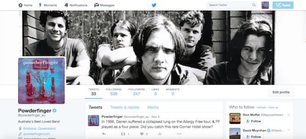 Powderfinger Twitter page